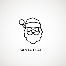 Santa Claus Face Beard Moustache Happy Xmas Christmas New Year Outline Thin Line Vector Icon Black On White Background.