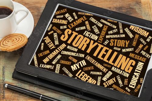 Photo storytelling  and story word cloud on digital tablet