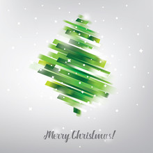 Christmas Tree In Modern Vibrant Style Symbol, Greeting Card Template