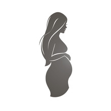 Pregnant Woman Symbol, Stylized Vector Silhouette