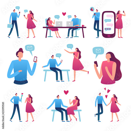 Online dating couple Wallpaper Mural