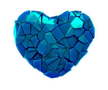 Heart Symbol In A 3D Illustration Made Of Broken Plastic Blue Color Isolated On A White