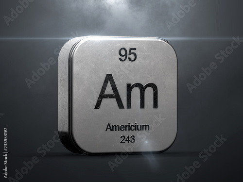 Photo Americium element from the periodic table