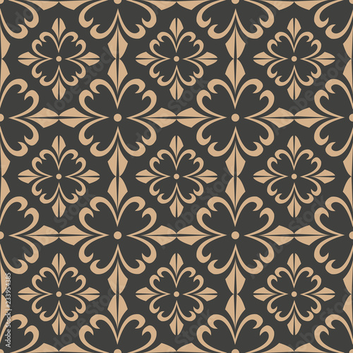 Vector damask seamless retro pattern background curve cross botanic garden flower