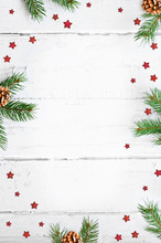 Christmas Background And Fir Tree Branches. Top View