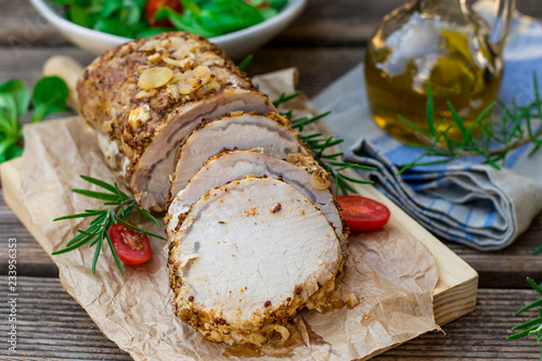 Roast pork loin in mustard marinade with rosemary Wallpaper Mural