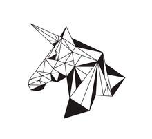 Unicorn Geometric Polygonal Black And White Vector Illustration