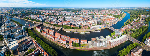 Foto Bremen old town aerial view