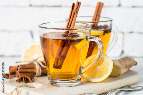 Fotobehang Thee Autumn hot tea with lemon and spices