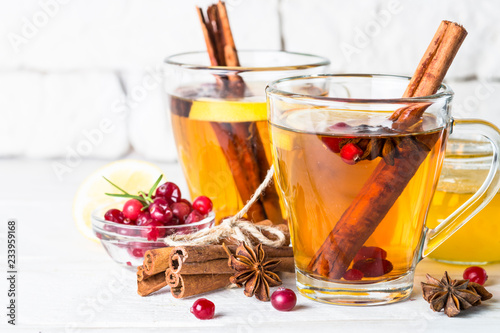 Staande foto Thee Autumn or winter hot tea with fruit, berries and spices.