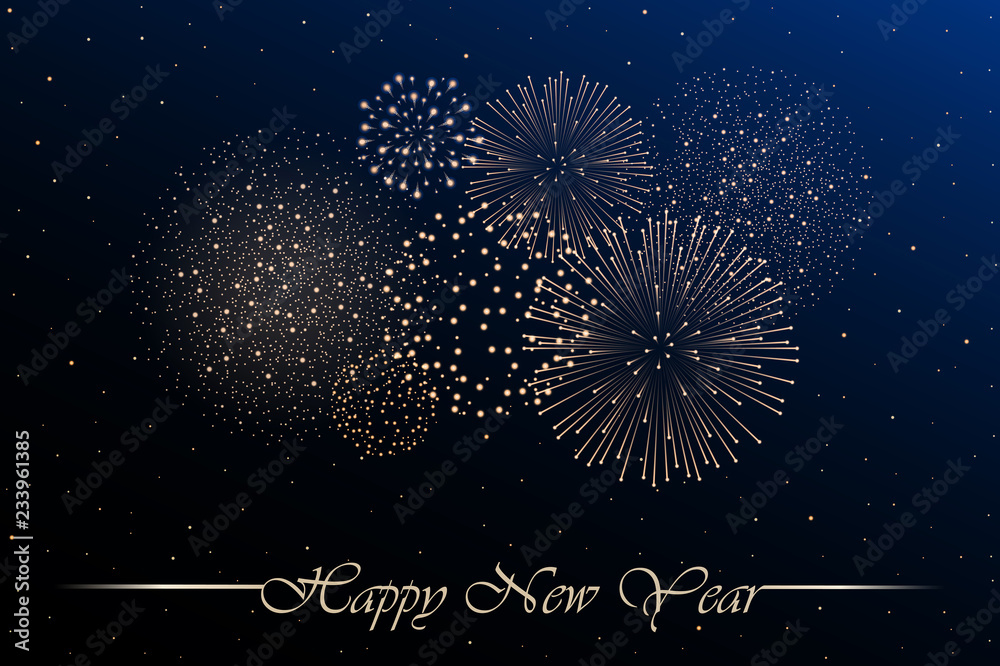 Obraz Lub Plakat Firework Show On Blue Night Sky Background New Year Concept Congratulations Or Invitation Card Background Vector Illustration