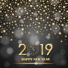 Abstract Shining Falling Stars On Grey Ambient Blurred Background. New Year 2019 Concept. Luxury Design. Vector Illustration