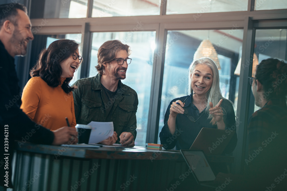 Fototapeta Business group having casual talk in meeting