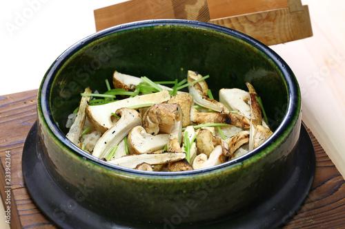 Photo  matsutake gohan, rice cooked with matsutake mushroom, japanese food
