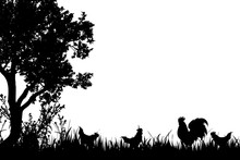 Vector Silhouette Of Rooster And Hen On The Farm.