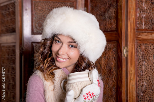 Lovely Woman In Winter Clothing And Cup Of Hot Drinks Tea