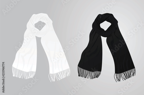 Cuadros en Lienzo White and black scarf. vector illustration