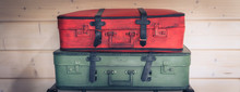 Vintage Colourful Pile Of Suitcases, Travel Luggage Concept, Banner