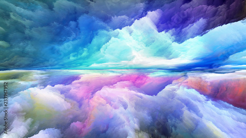 Garden Poster Blue sky Virtual Abstract Landscape