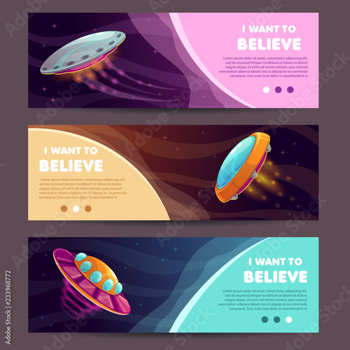 Photo  Set of horizontal long banners with cartoon alien spaceships.