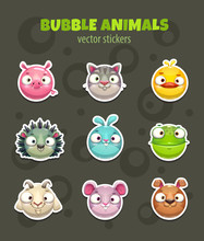 Set Of Cartoon Cute Round Animal Faces.