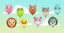 Funny Colorful Flying Balloons With Cute Animal Faces.