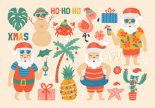Christmas Holiday Cute Elements Set With Santa Claus On Sea Beach.