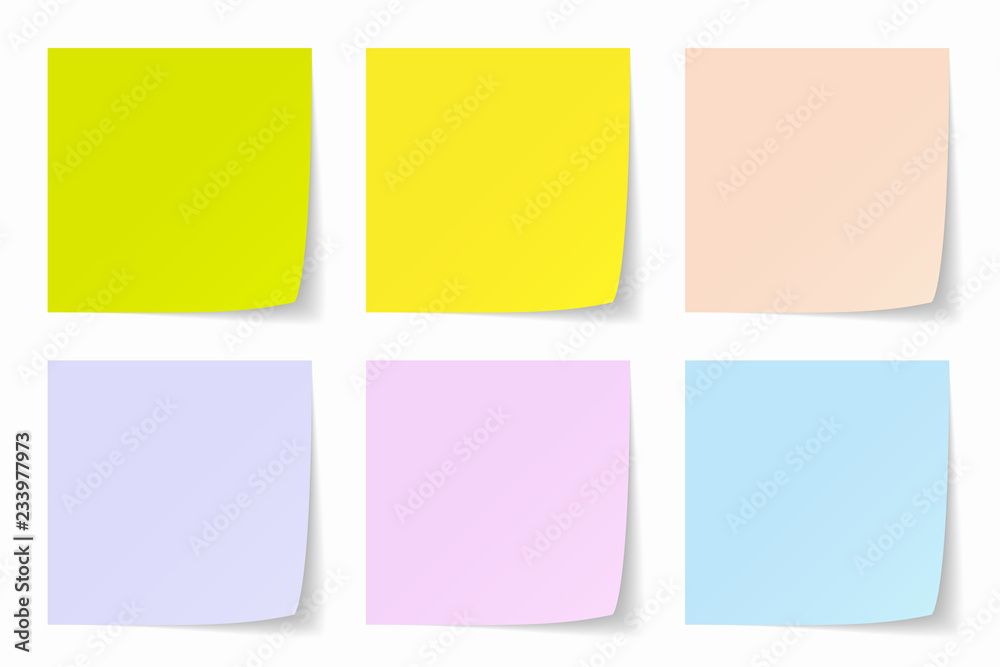 Fototapety, obrazy: Color Post-it Background, Vector Graphics