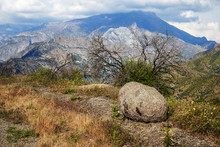 Boulder And Mountains In Sequoia National Park, California, USA