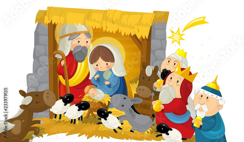 Cuadros en Lienzo religious illustration holy family three kings and shooting star - traditional s