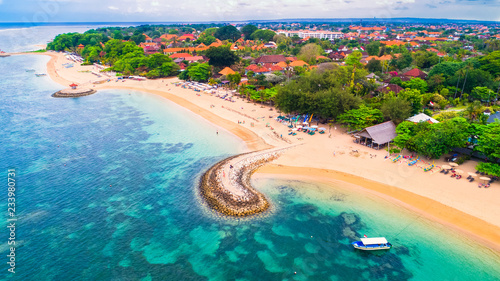 Foto op Canvas Bali Aerial view of Sanur beach, Bali, Indonesia.