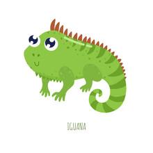 Cute Cartoon Iguana Vector Illustration.