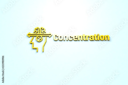 Text Concentration with yellow 3D illustration and light blue background