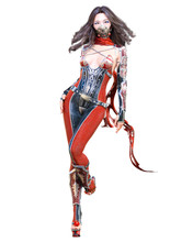 3D Sexy Japanese Assassin Woman. Llustration. Conceptual Fashion Art. Seductive Candid Pose. Isolated.