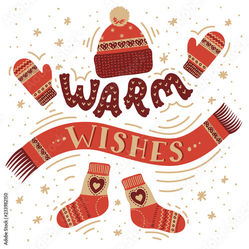 Fotografie, Obraz  Warm wishes. Warm winter accessories.