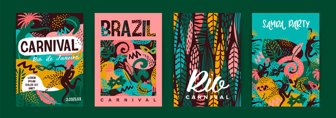 Brazil carnival. Vector templates with trendy abstract elements.