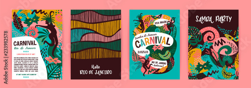 Valokuva  Brazil carnival. Vector templates with trendy abstract elements.