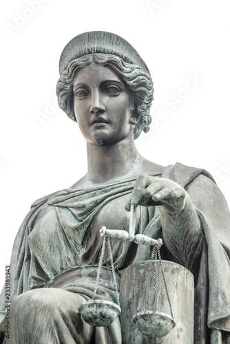 Spoed Foto op Canvas Historisch mon. Statue of beautiful judge at the Emperor Franz I monument in Hofburg Palace in Vienna, Austria, isolated at white background