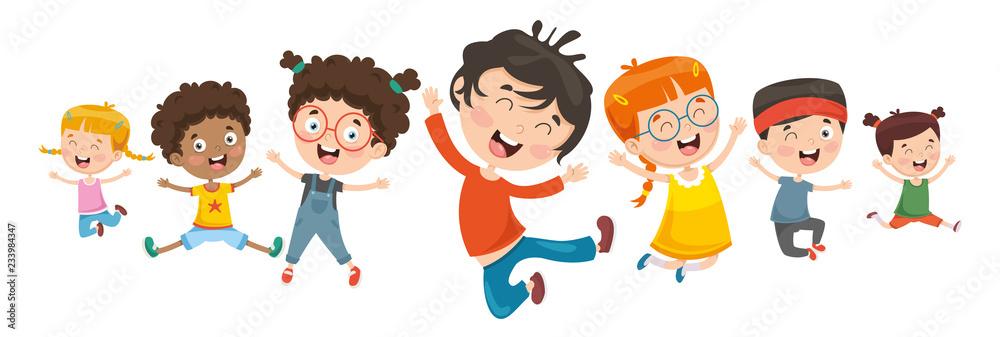 Fototapeta Vector Illustration Of Children Playing
