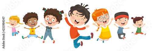 Photo  Vector Illustration Of Children Playing