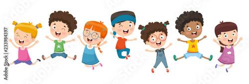 Vector Illustration Of Children Playing - 233984397