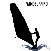 Windsurfer Silhouette On White
