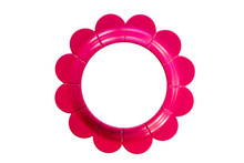 Isolated Pink Circular Flower Frame