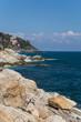Rocky seasore in Liguria, Italy