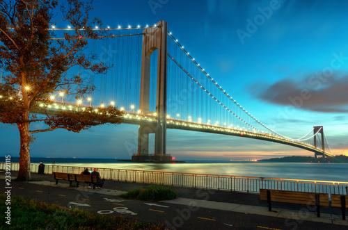 Verrazzano-Narrows Bridge at sunset in Brooklyn, New York