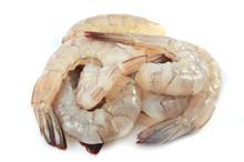 Fresh Shrimp Isolated / Pile Of Raw Prawns Fresh Shrimp Peeled On White Background - Shrimp Cocktail Seafood Ready For Cook Food
