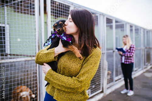 Young woman with worker choosing which dog to adopt from a shelter Wallpaper Mural