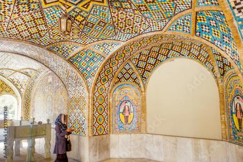Interior tile art inside Karim Khani Nook. Golestan palace, Tehran, Iran.