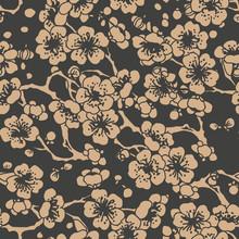 Vector Damask Seamless Retro Pattern Background Oriental Spiral Curve Cross Leaf Frame Flower Plum Blossom