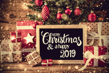 Tree, Retro Gifts, Calligraphy Merry Christmas And A Happy 2019